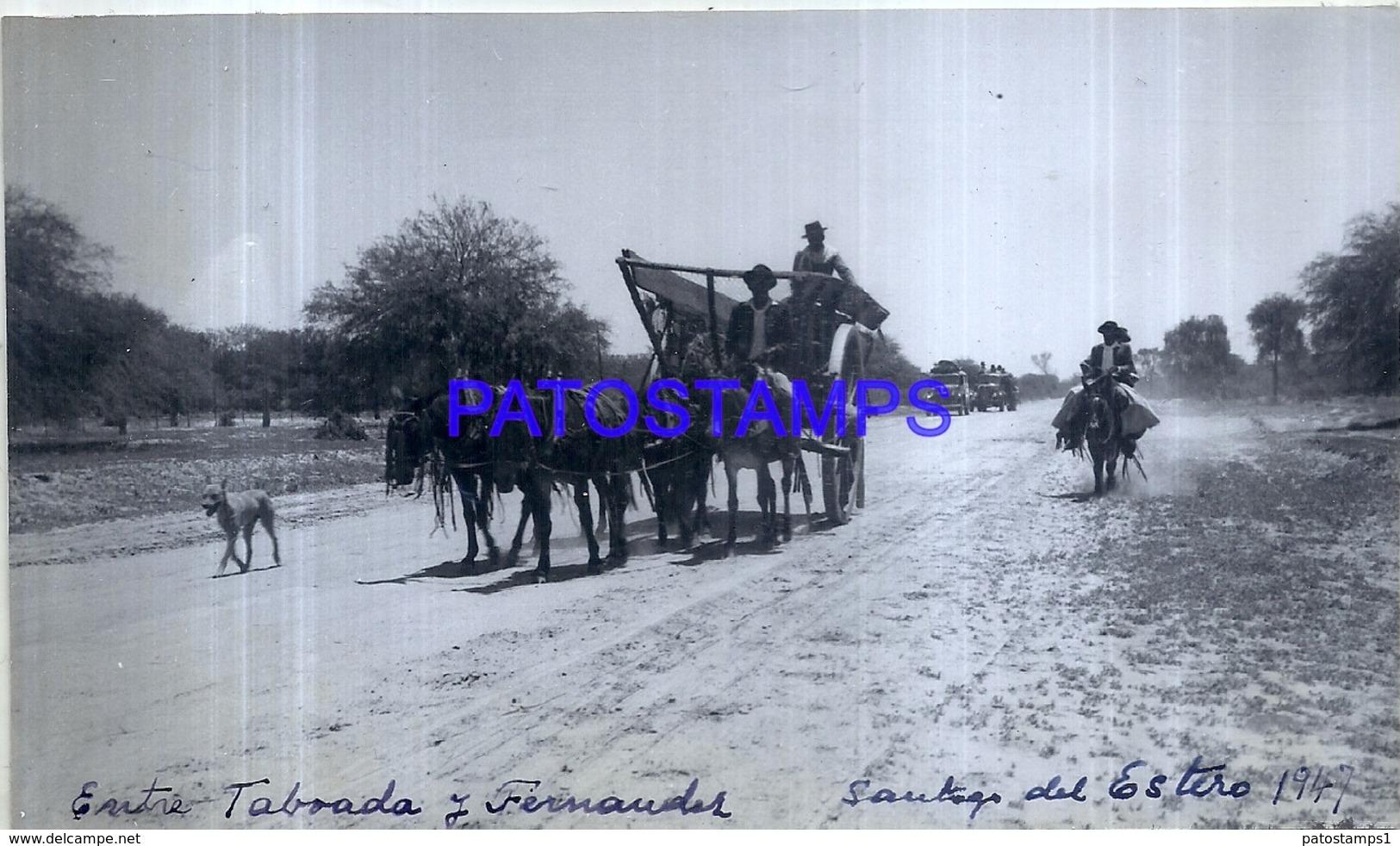 118471 ARGENTINA SANTIAGO DEL ESTERO VISTA PARCIAL CART A HORSE & AUTOMOBILE CAR AÑO 1947 16.5 X 10 CM PHOTO NO POSTCARD - Fotografie