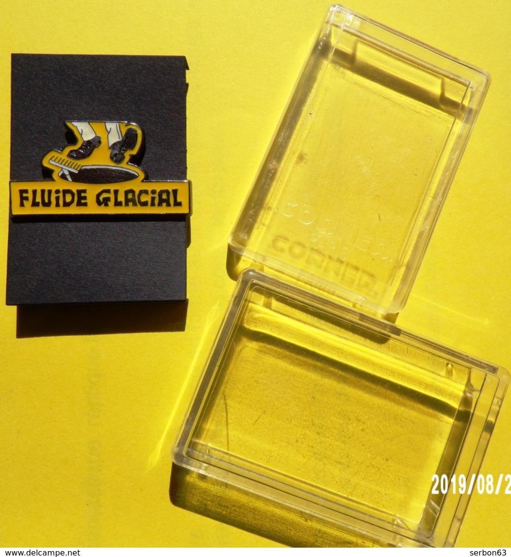 PIN'S FLUIDE GLACIAL PIN'S EPINGLETTE CORNER DANS SA BOITE D'ORIGINE EN PLASTIQUE - NOTRE SITE Serbon63 - Pin's
