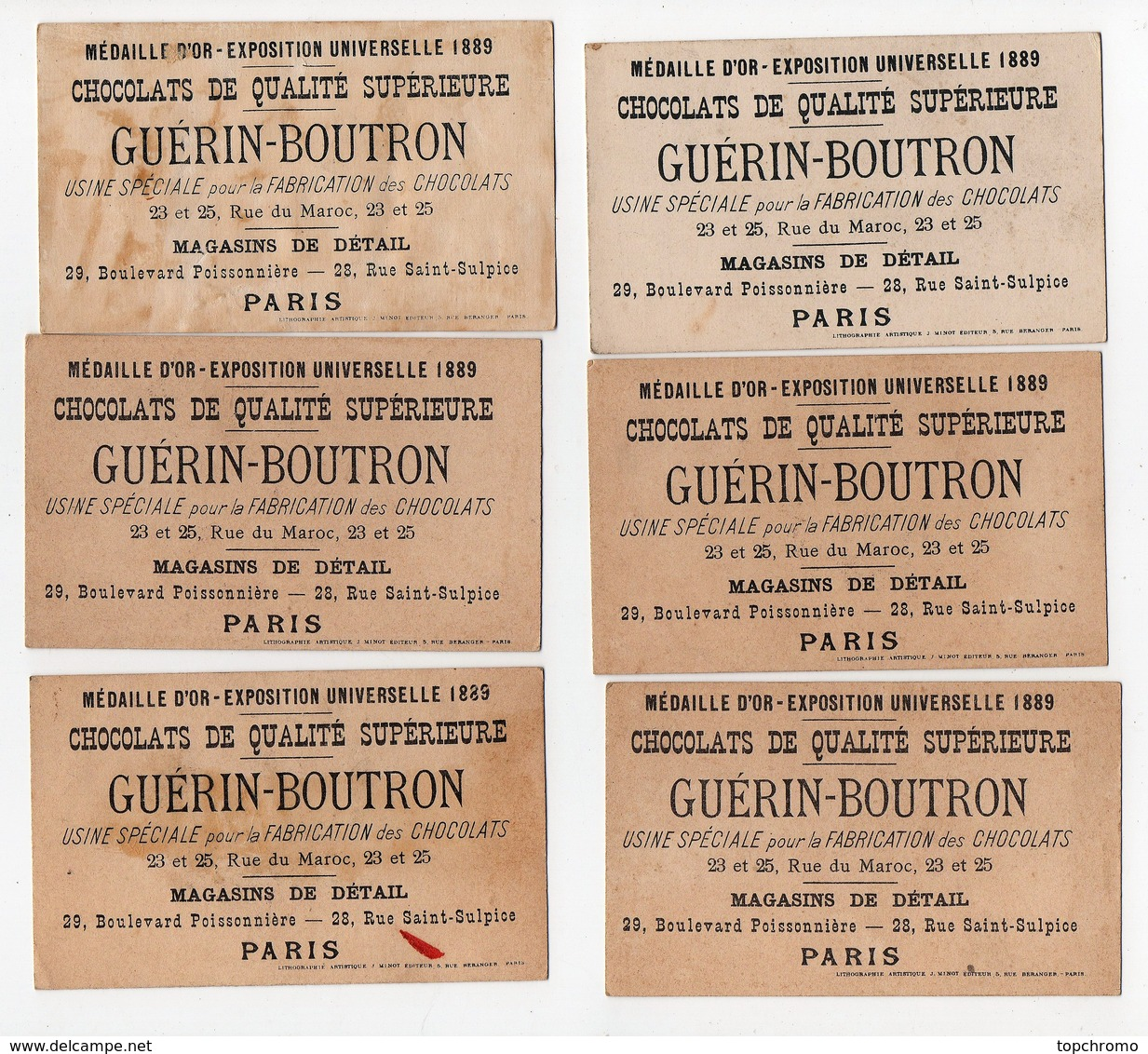 CHROMO Chocolat Guérin-Boutron J. Minot Humour (12 Chromos) - Guérin-Boutron