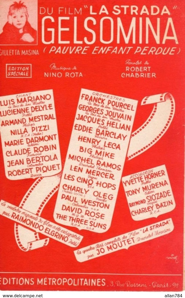 PARTITION GIULETTA MASINA - GELSOMINA DU FILM ITALIE LA STRADA - NINO ROTA - MARIANO HELIAN POURCEL - 1954 - TB ETAT - - Film Music