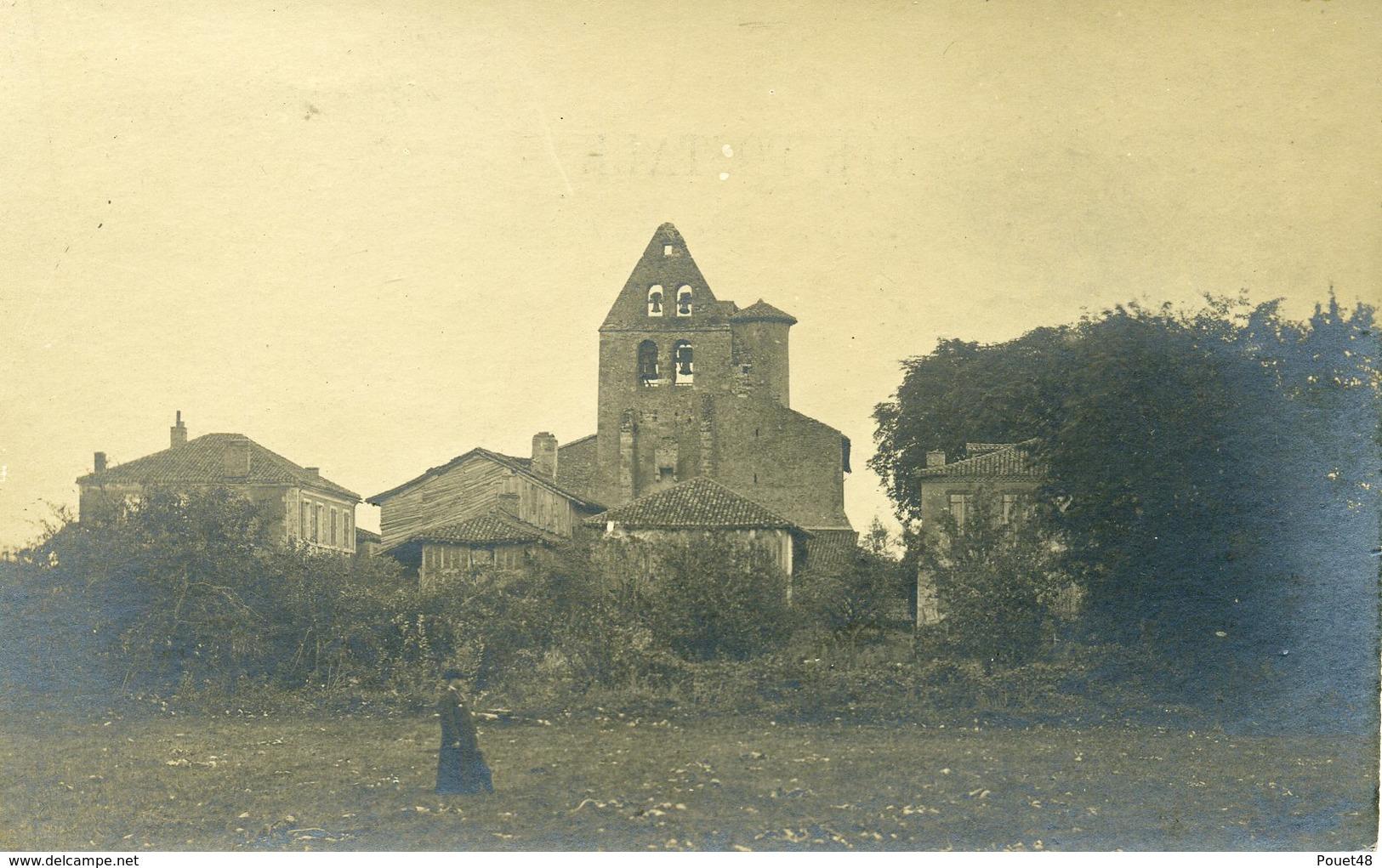 40 - BASCONS - Curé Devant L'Eglise - Carte Photo - Autres Communes