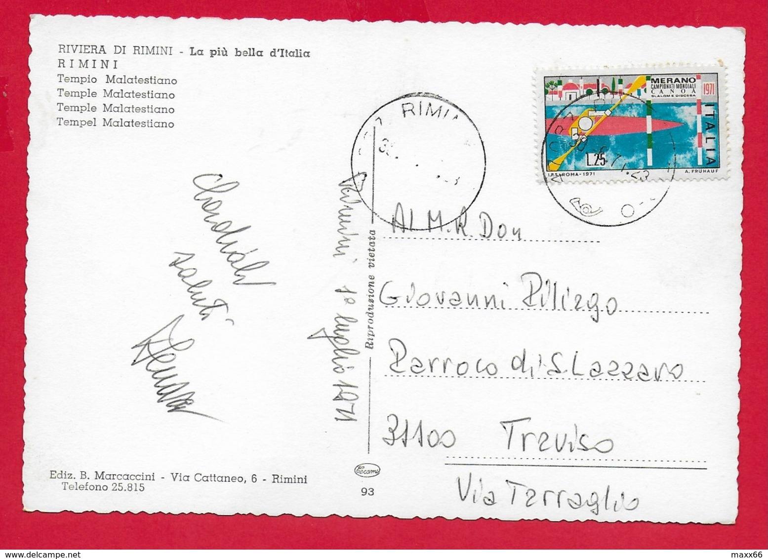 CARTOLINA VG ITALIA - RIMINI - Tempio Malatestiano - 10 X 15 - 1971  MONDIALI CANOA MERANO - Rimini