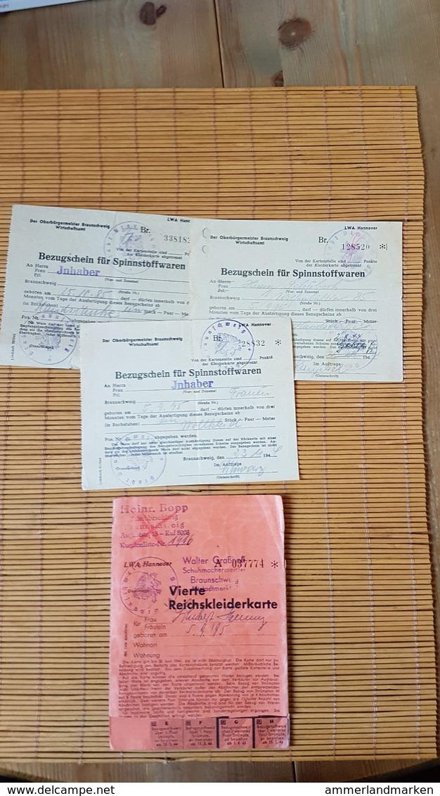 Vierte Reichskleiderkarte + 3 Bezugsscheine Für Spinnstoffwaren,  Braunschweig 1944 - Documents