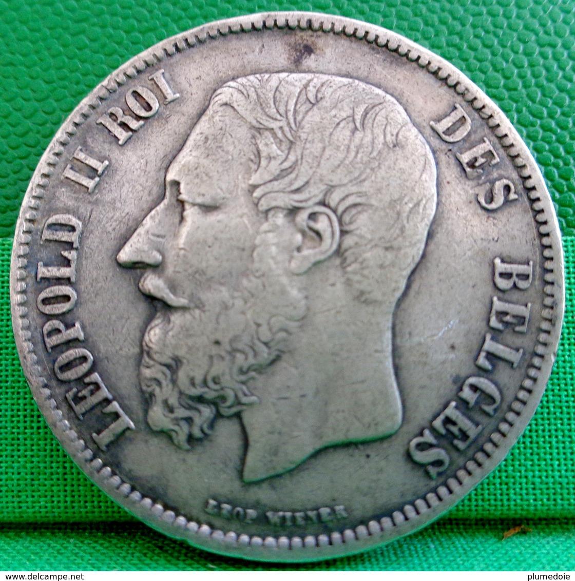 MONNAIE BELGE 5 FR Argent 1868 , LEOPOLD II ROI DES BELGES , Écu Couronné 1868 , BELGIQUE , BELGIUM SILVER COIN - 09. 5 Francs