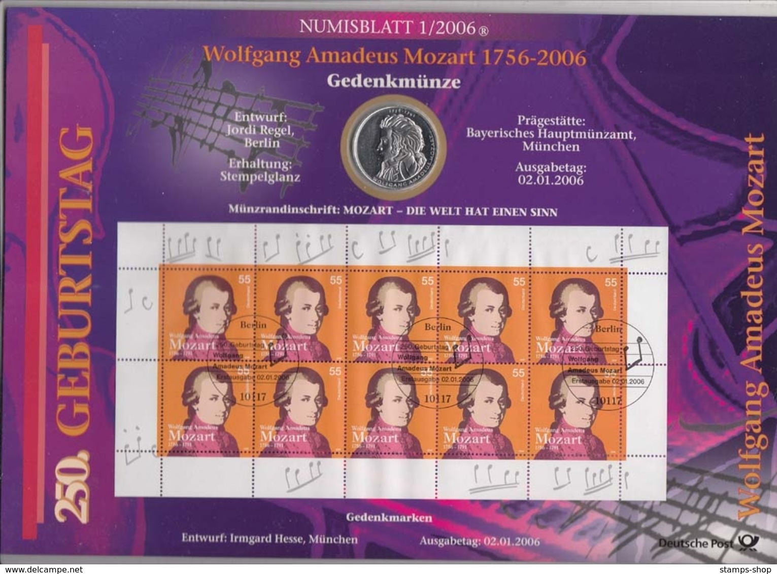 Bund Numisblatt 2006-1 Wolfgang Amadeus Mozart 10,00 Euro - [ 7] 1949-…: BRD
