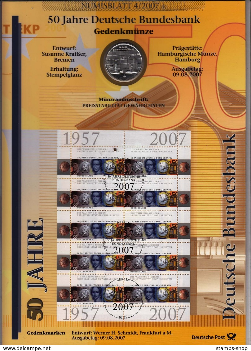 Bund Numisblatt 2007-4 Deutsche Bundesbank, 10,00 Euro - [ 7] 1949-…: BRD