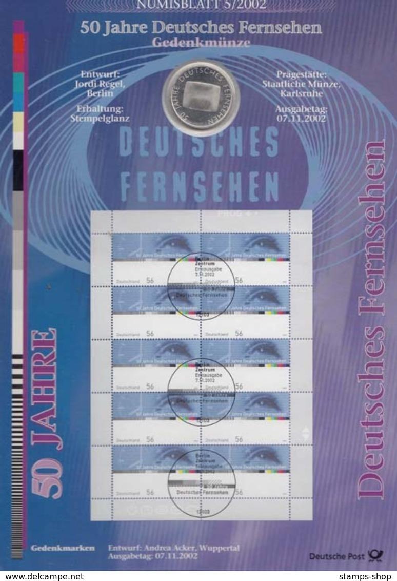 Bund Numisblatt 2002-5 Deutsches Fernsehen 10,00 Euro - [ 7] 1949-…: BRD
