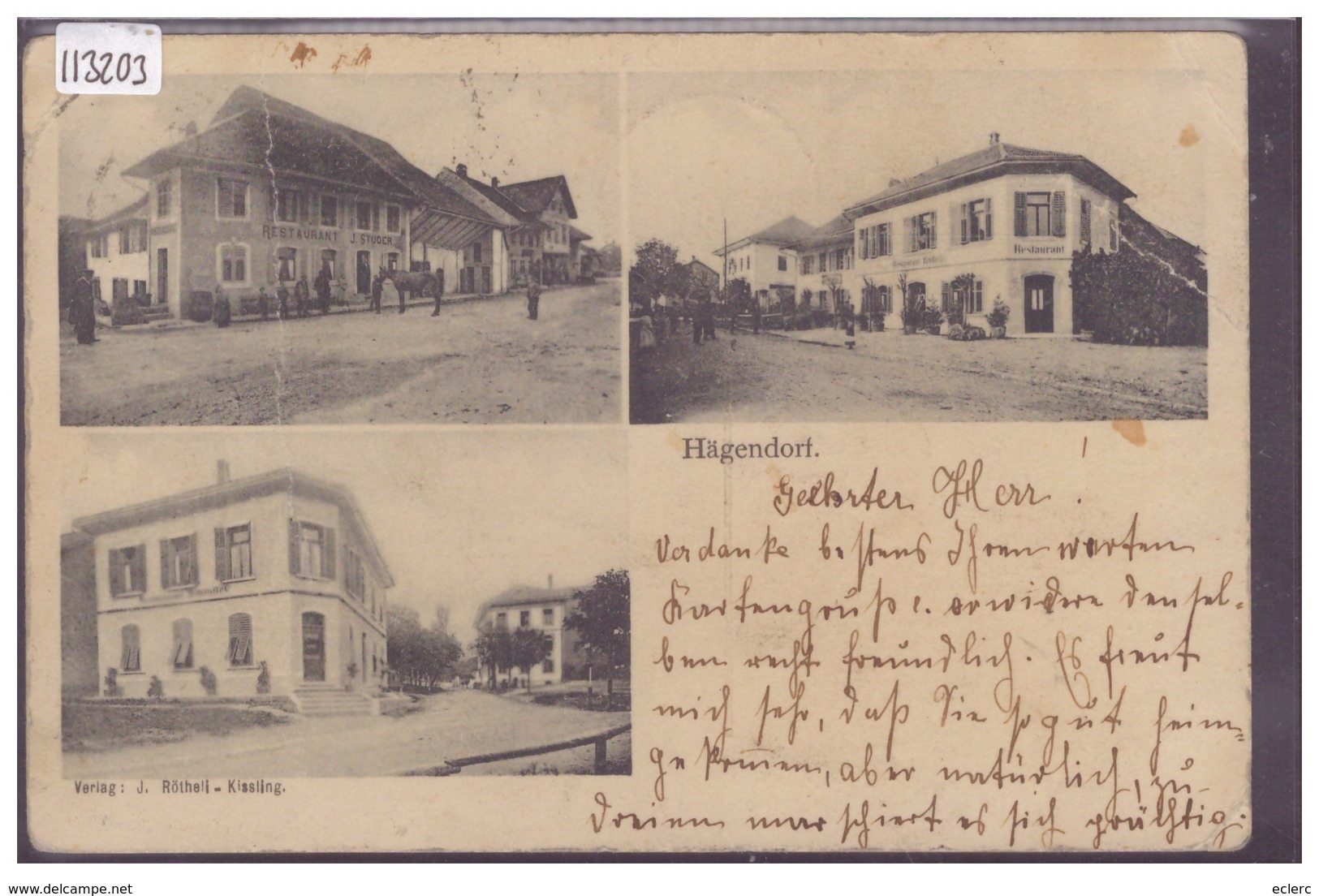 HÄGENDORF - ( PLI VERTICAL, 3 PLIS D'ANGLE ET USURE ) - SO Solothurn