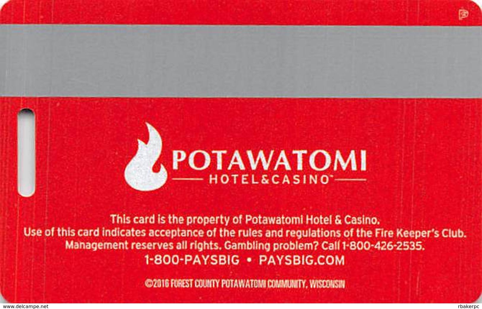 Potawatomi Casino - Milwaukee, WI - Slot Card  @2016 - Casino Cards
