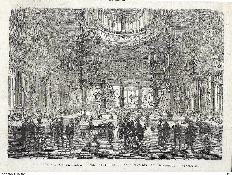 GRAVURE De 1872...Les GRANDS CAFES De PARIS. Vue Intérieure Du CAFE MAZARIN, Rue Dauphine - Prints & Engravings
