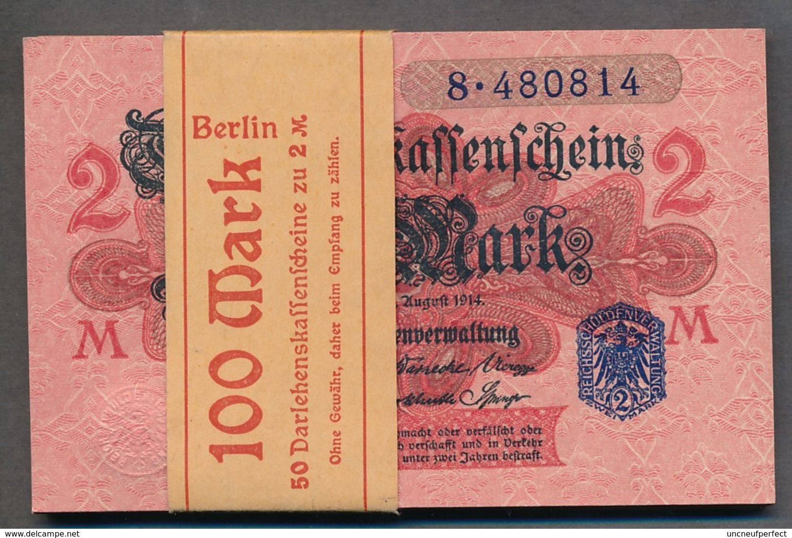 Pick 55 Ro 52d DEU-188   2 Mark 1914 UNC ! - [ 2] 1871-1918 : Impero Tedesco