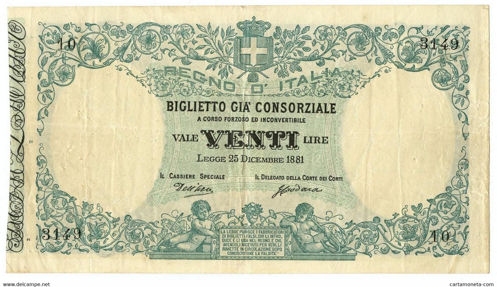 20 LIRE ESEMPLARE CATALOGO CRAPANZANO BIGLIETTO GIÀ CONSORZIALE 25/12/1881 BB+ - Biglietti Gia Consorziale