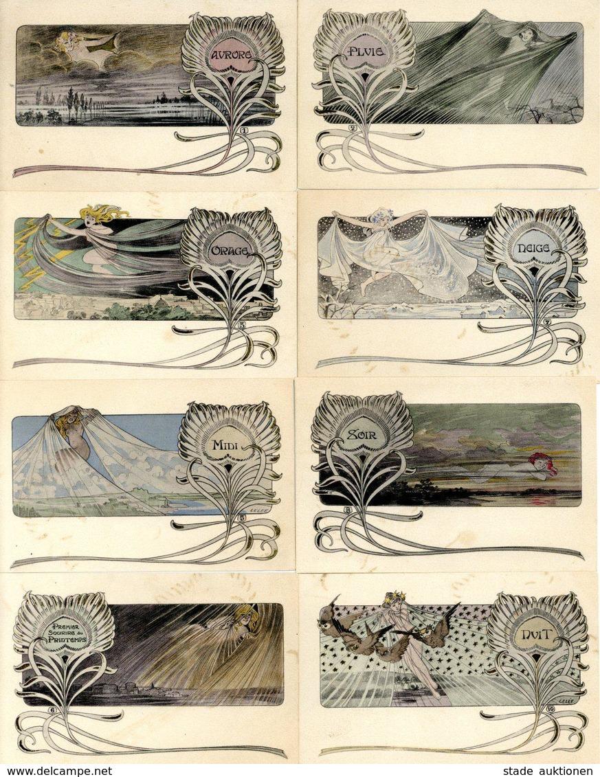 Jugendstil - 8 Dekor. Künstlerkarten Sign. LELEE Aus 10er-Serie (es Fehlen Nr. 4 Und 9) I-II Art Nouveau - Künstlerkarten