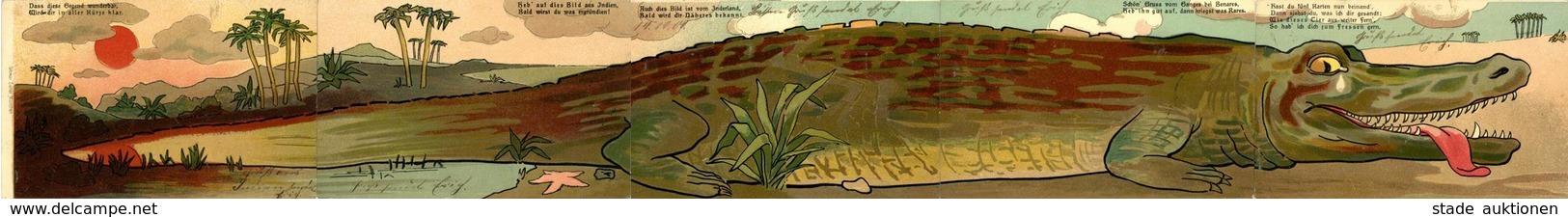 Puzzle 5 Tlg. Krokodil Künstler-Karte I-II - Ansichtskarten