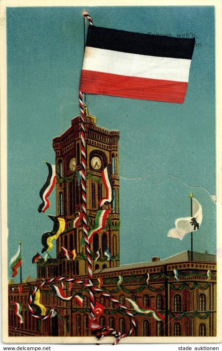 Seide Gewebt Fahne Schwarz Weiß Rot Mechanik-Karte I-II Soie - Ansichtskarten