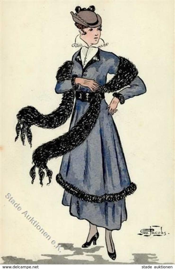 Handgemalt Frau Mode Sign. Jacobs, G. Künstlerkarte I-II Peint à La Main - Ansichtskarten