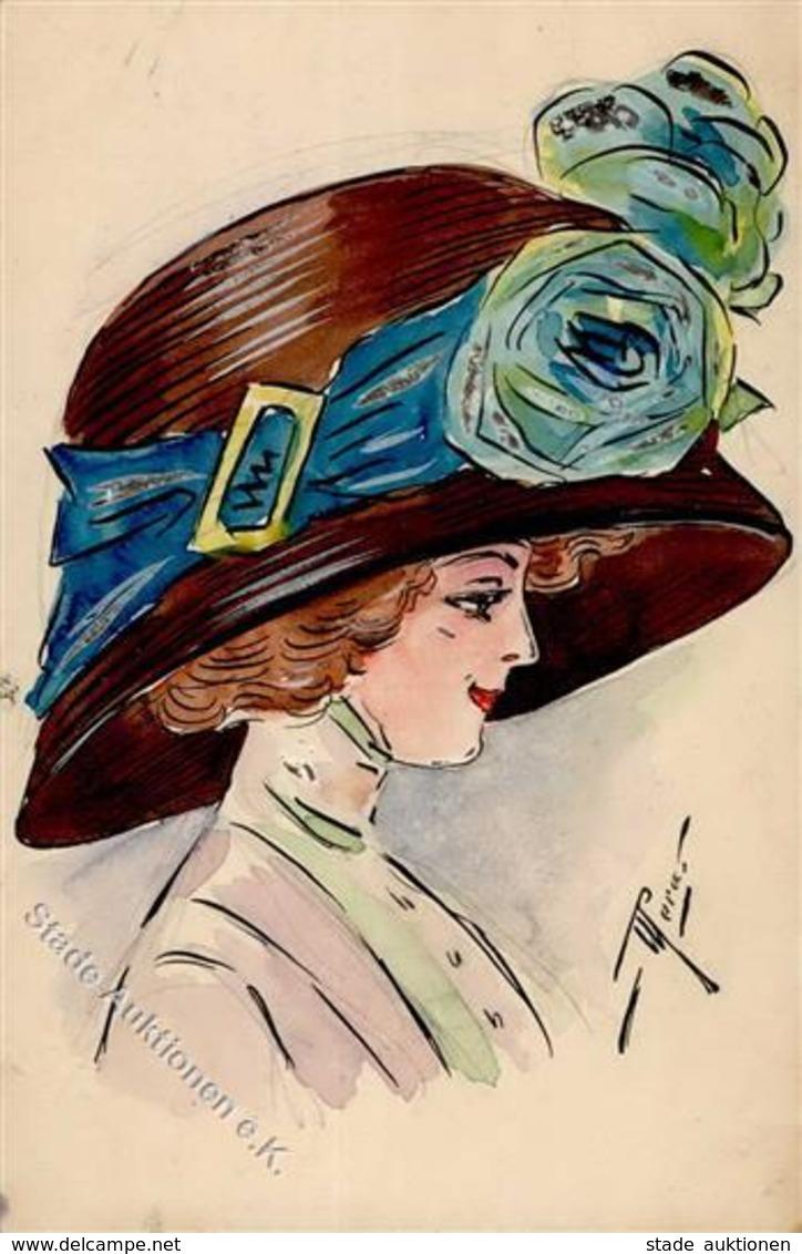 Handgemalt Hutmode Künstlerkarte 1909 I-II Peint à La Main - Sonstige