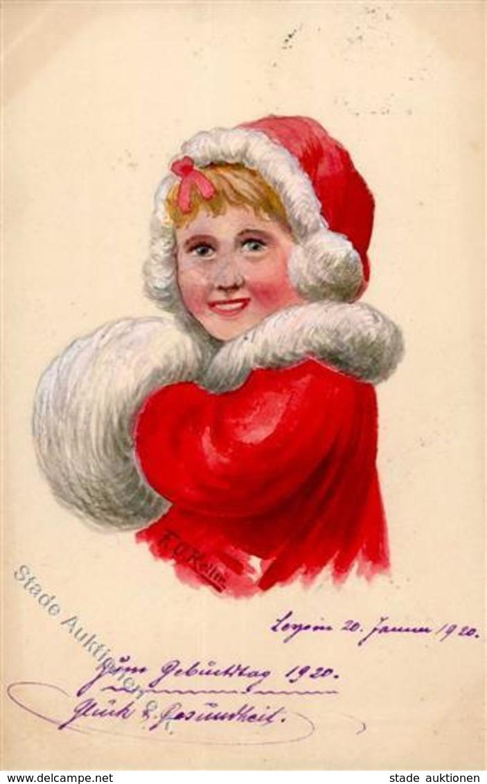 Handgemalt Kind Muff Künstlerkarte I-II (Marke Entfernt) Peint à La Main - Ansichtskarten