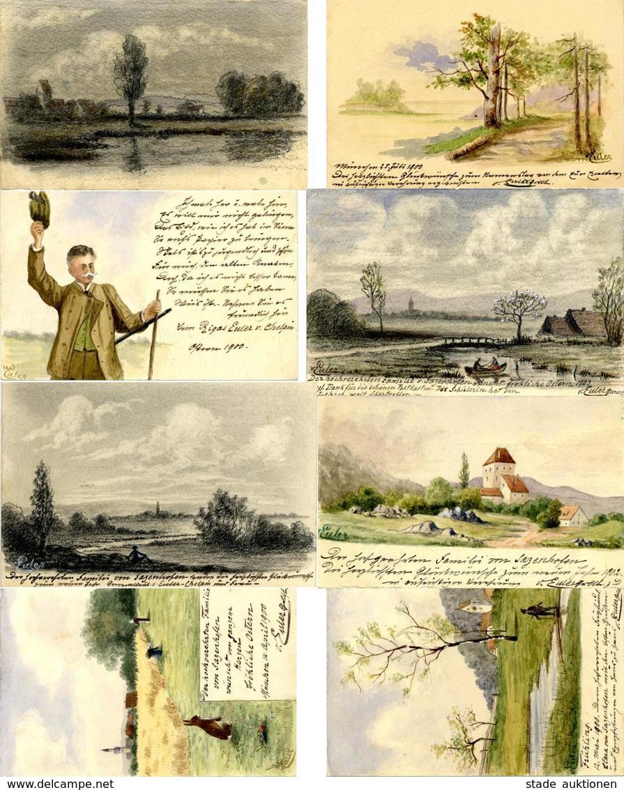 Handgemalt Lot Mit 13 Künstler-Karten Autograph Rigas Euler Von Chelpin I-II Peint à La Main - Ansichtskarten