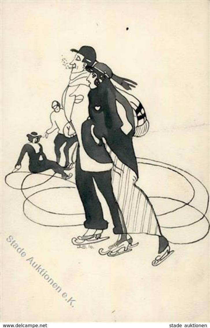 Handgemalt Schlittschuhläufer 1916 II (Mittelbug) Peint à La Main - Ansichtskarten