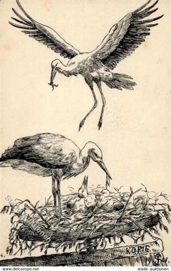 Handgemalt Störche  Künstlerkarte 1912 I-II Peint à La Main - Ansichtskarten
