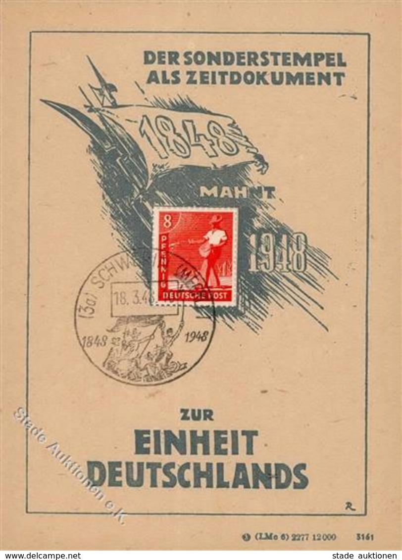 SCHWERIN,Meckl. - 100 Jahre EINHEIT DEUTSCHLANDS 1948 - S-o Schwein 1948 I Cochon - Politik