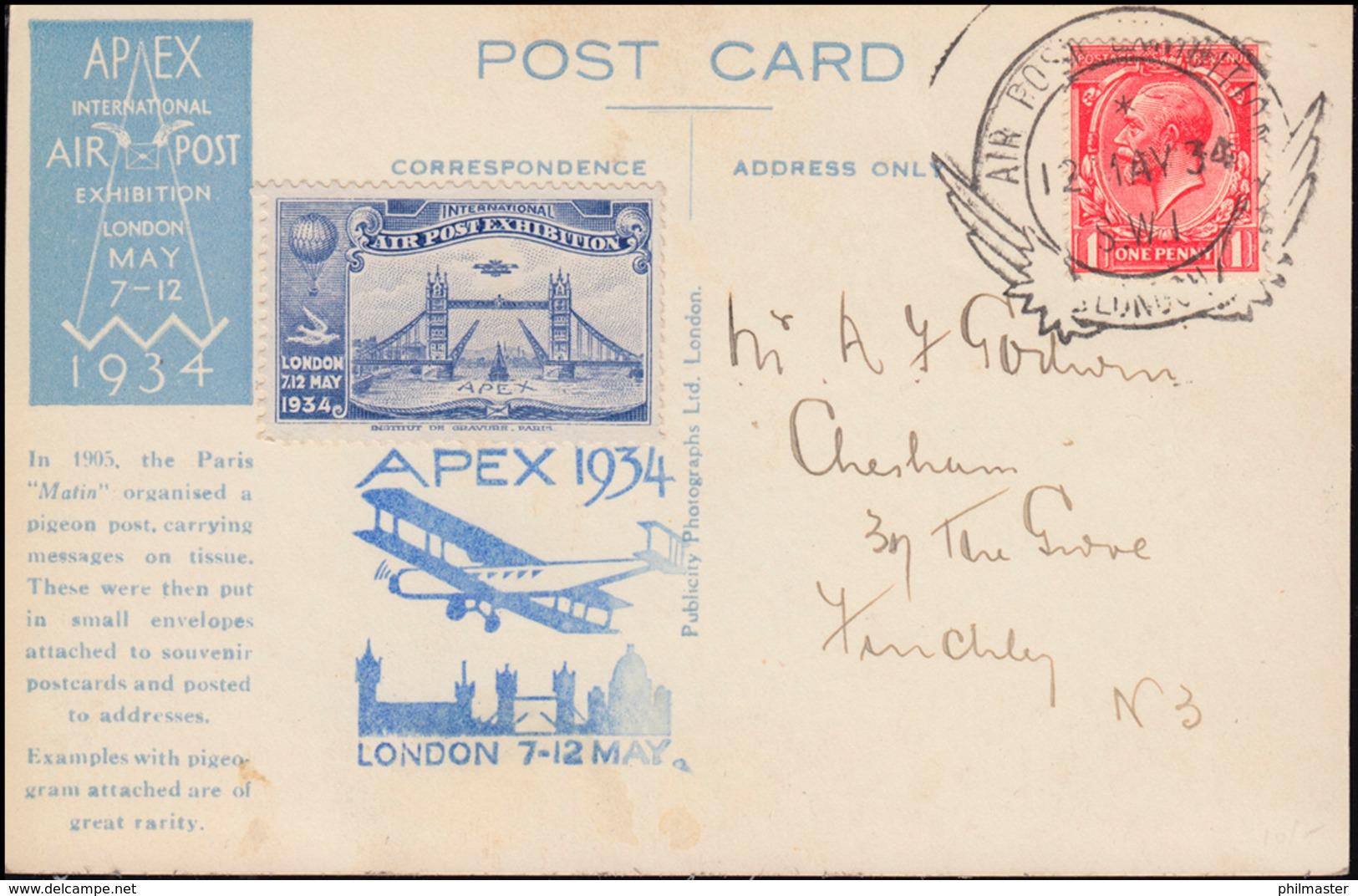 APEX 1934 London SSt 12.5.34 AK Taubenpost / Message Per Pigeon, Mit Vignette  - Briefmarkenausstellungen