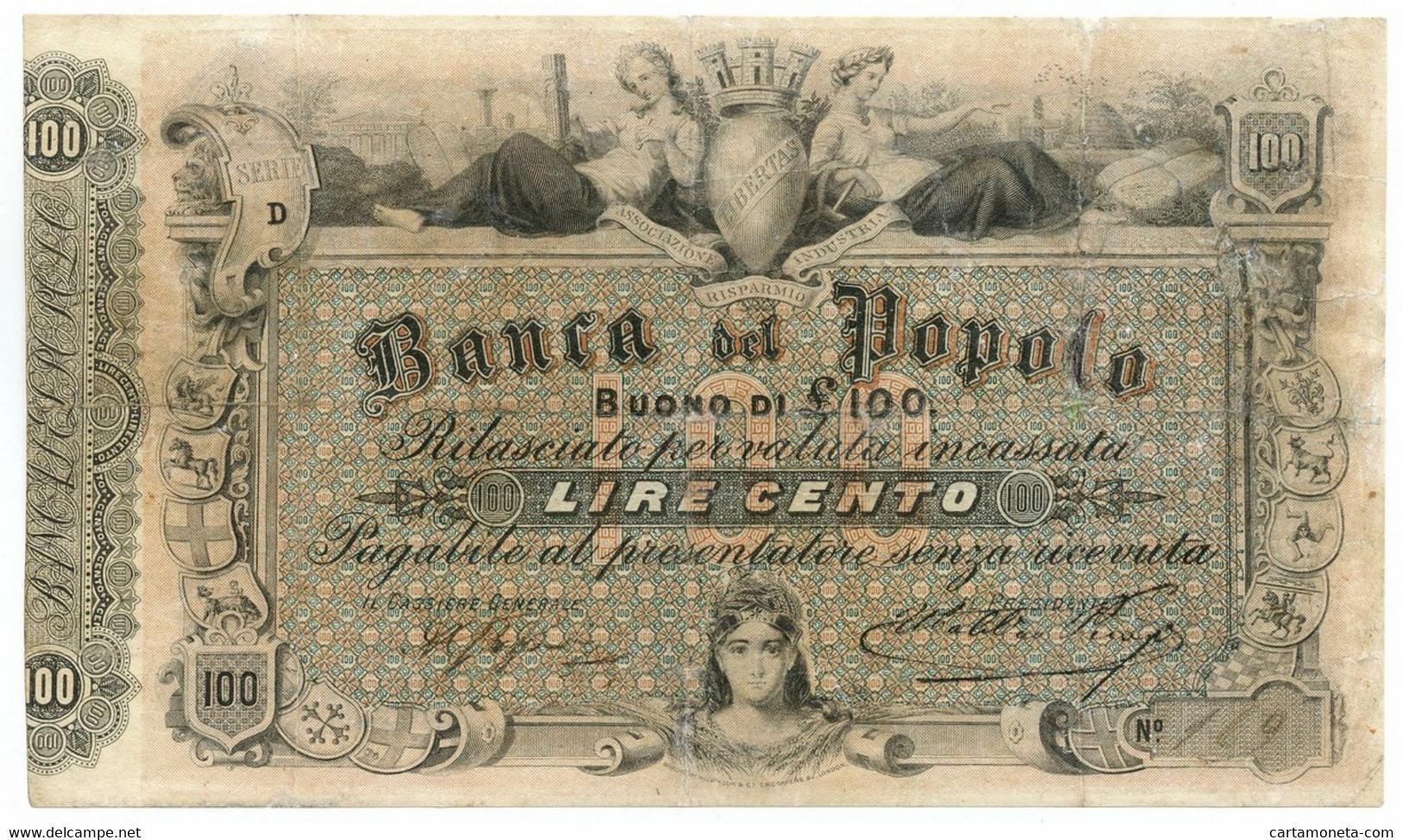 100 LIRE BANCA DEL POPOLO DI FIRENZE REGNO D'ITALIA 1879 MB/BB - [ 1] …-1946 : Regno