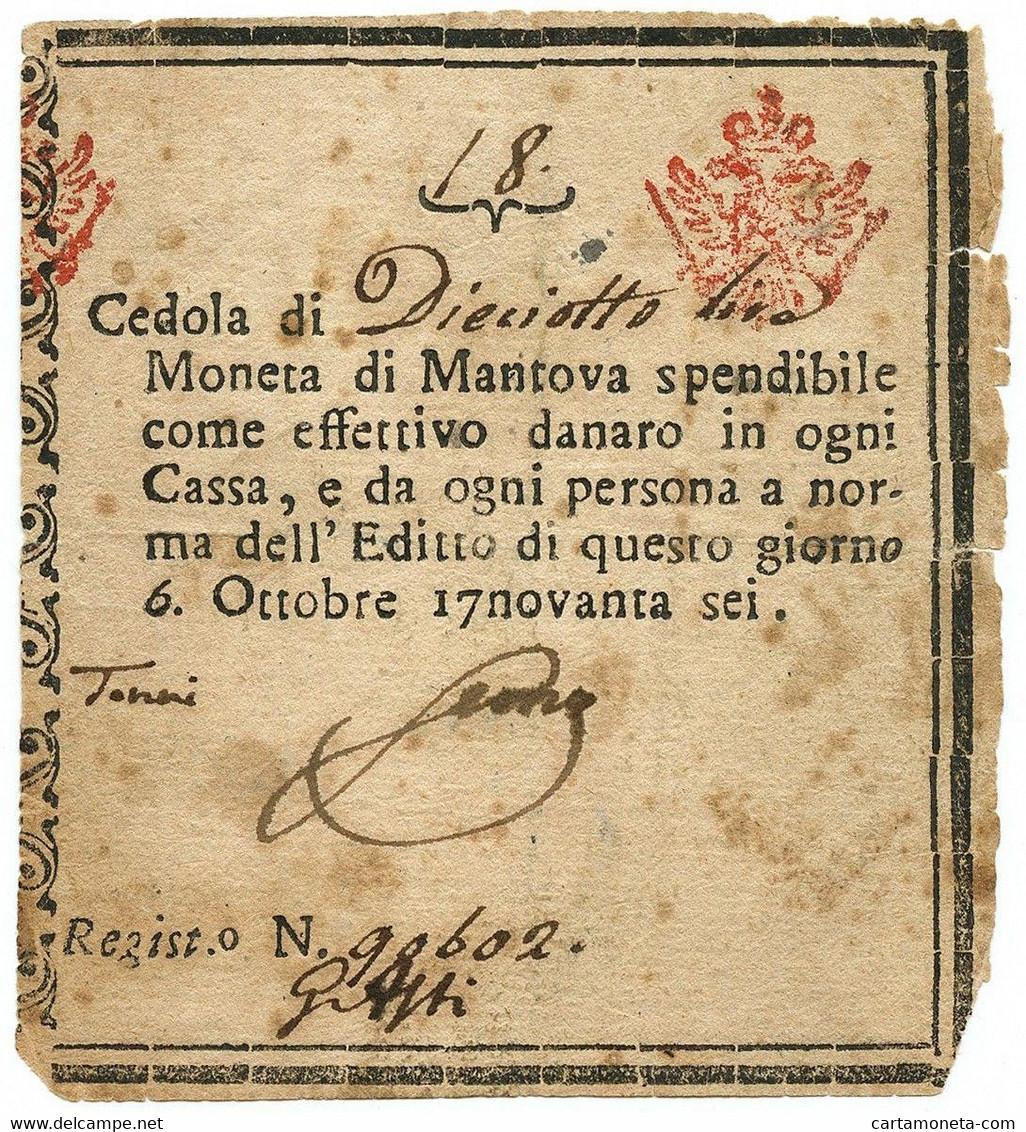 18 LIRE CEDOLA MONETATA DUCATO DI MANTOVA 06/10/1796 BB - Altri