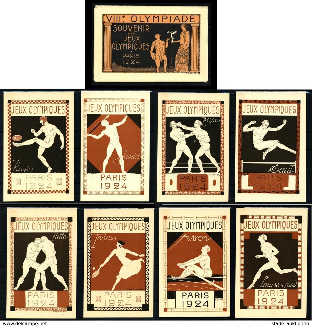 Olympiade Sommerspiele Paris 1924 Souvenir-Folder Mit 8 Ganzsachen Frankreich Sign. Blanche, E. I-II - Olympische Spiele