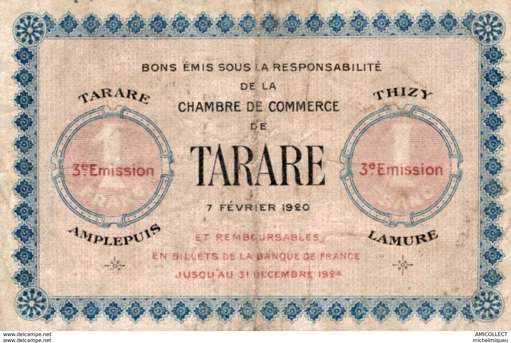 6976-2019    BILLET CHAMBRE DE COMMERCE DE  TARARE - Camera Di Commercio