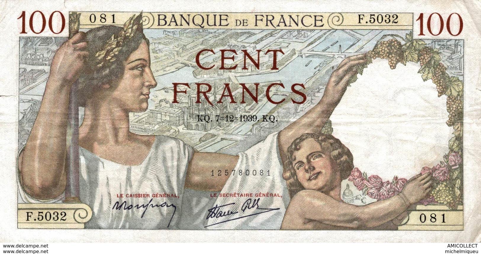 7635-2019    BILLET  DE BANQUE 7-12-1939 - 100 F 1939-1942 ''Sully''