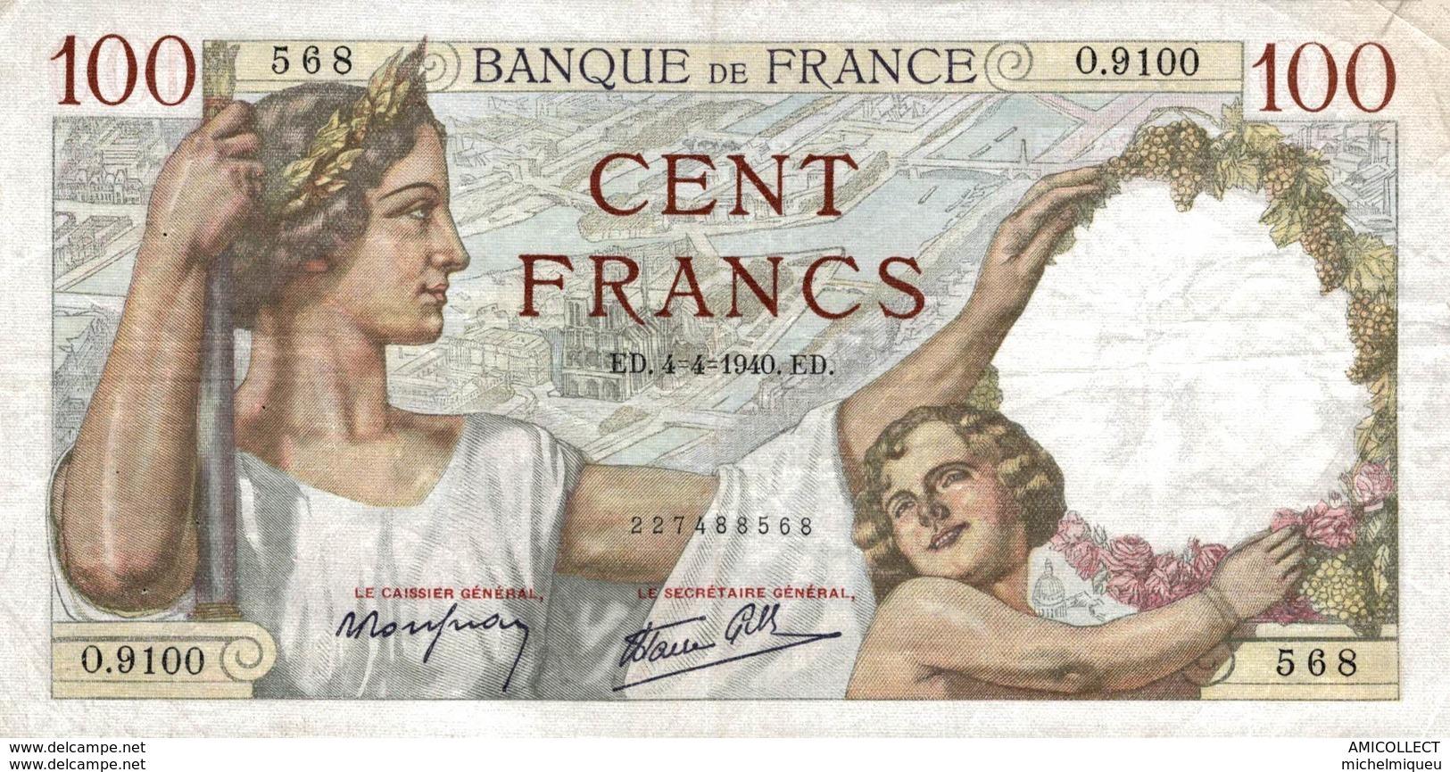 7636-2019    BILLET  DE BANQUE 7-12-1939 - 100 F 1939-1942 ''Sully''