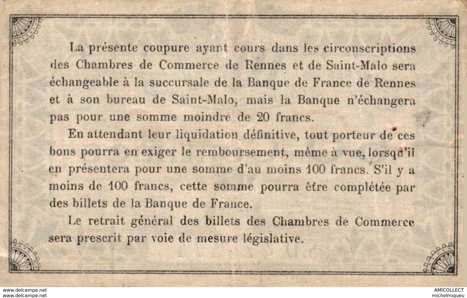 1320-2019     CHAMBRE DE COMMERCE DE RENNES ET DE SAINT MALO  50 CENTIMES - Camera Di Commercio