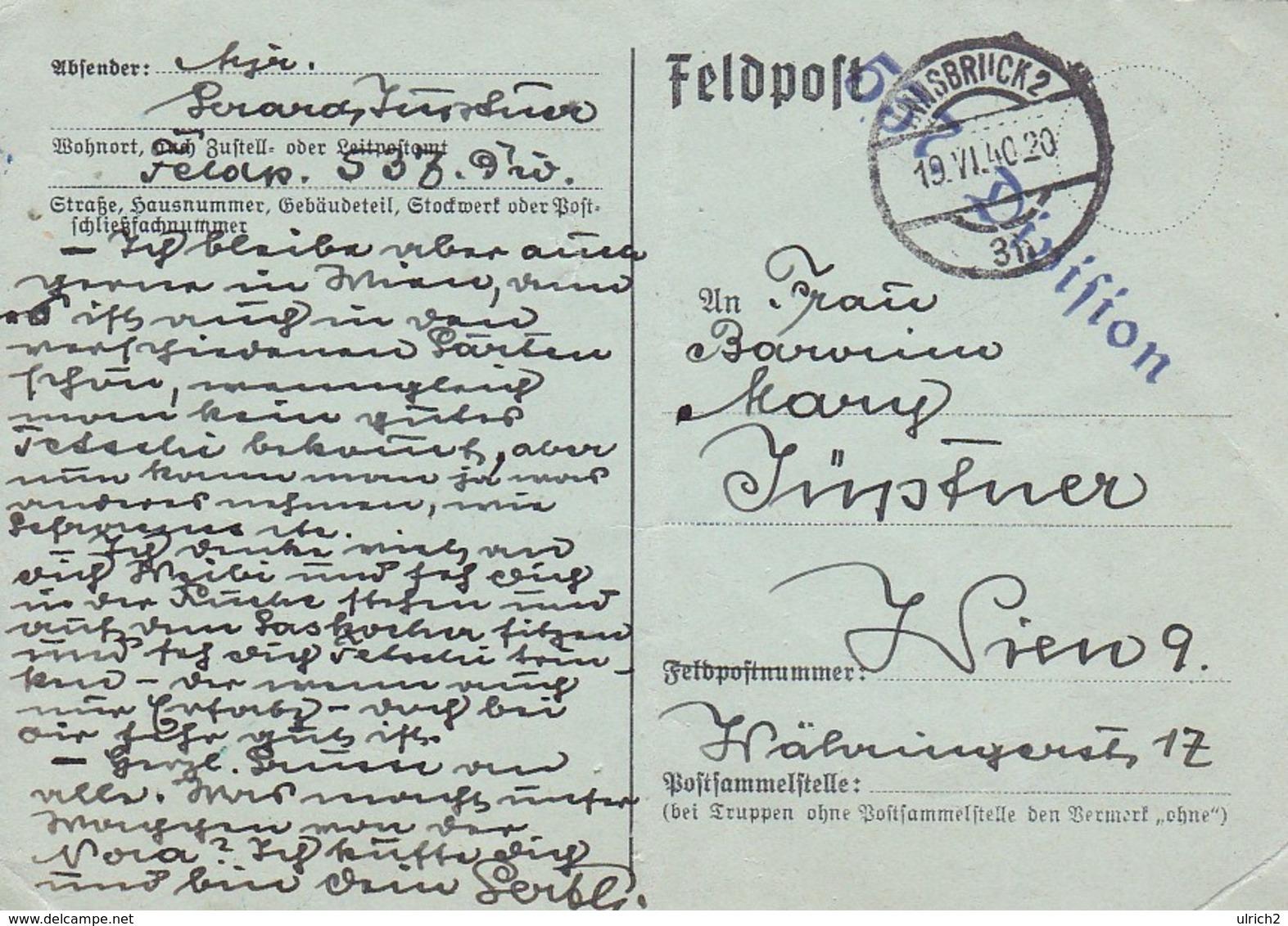 Feldpost Innsbruck Nach Wien - 537. Division - 1940 (41553) - Deutschland
