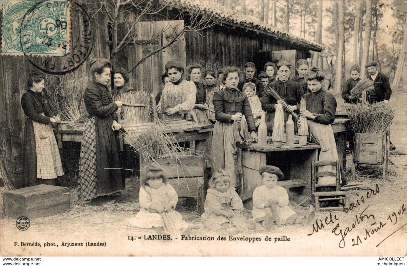 9872 -2018           LANDES     FABRICATION DES ENVELOPPES DE PAILLE - Francia