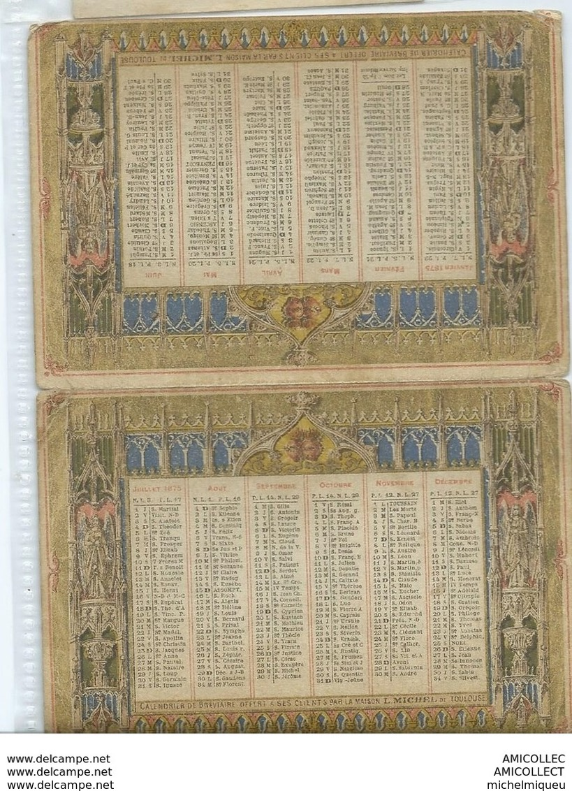 REF1642-2018  MAISON LOUIS MICHEL  RUE DE LA POMME 63 TOULOUSE  1875 - Calendari