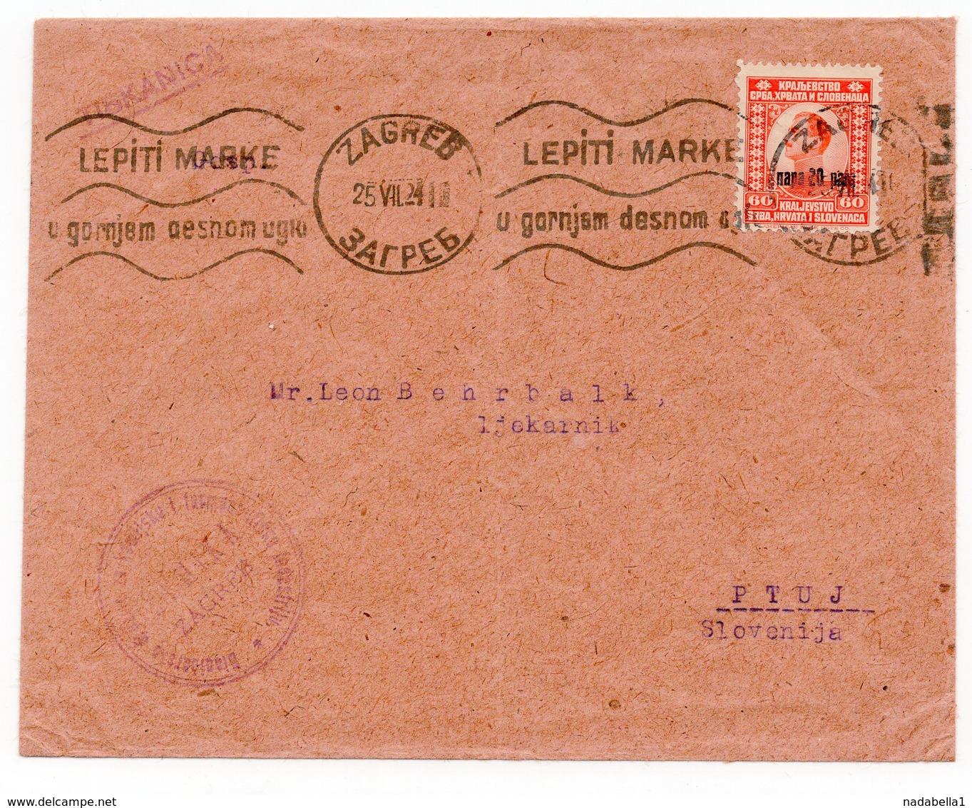 1924 YUGOSLAVIA, CROATIA, ZAGREB TO PTUJ, DIONICKO DRUSTVO ZA FARMACIJU I INDUSTRIJU, FLAM - 1919-1929 Kingdom Of Serbs, Croats And Slovenes