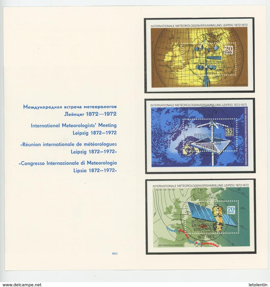 ALLEMAGNE ORIENTALE: DEPLIANT DE LA REUNION INTERNATIONALE DE METEOROLOGUES - N° Yvert BLOC 29+30+31 Obli - DDR