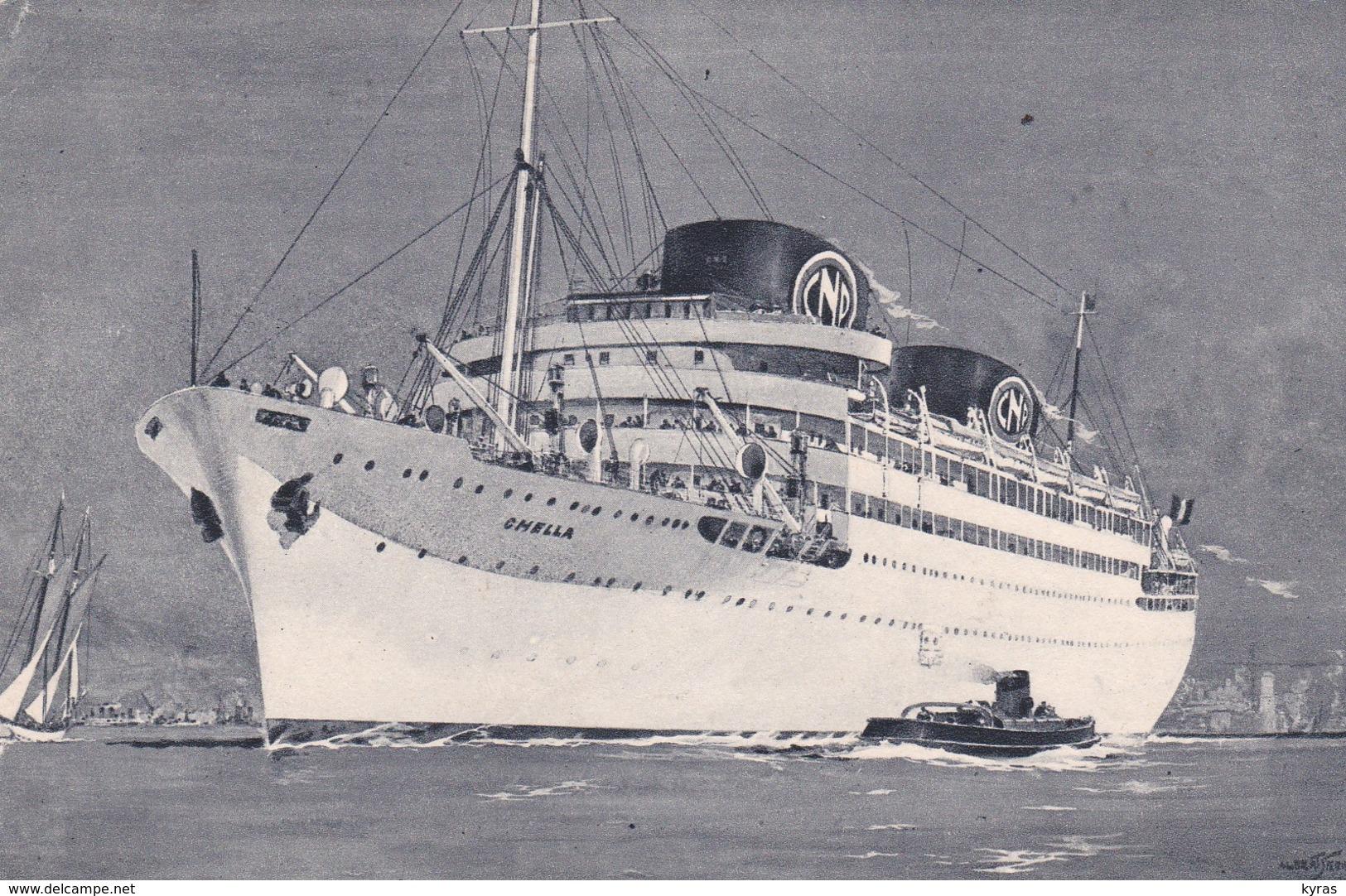 """Exposition Internationale Paris 1937  Le Paquebot  """" CHELLA  """" Cie Navigation PAQUET Marseille  (Illust Albert SERRE) - Paquebots"""