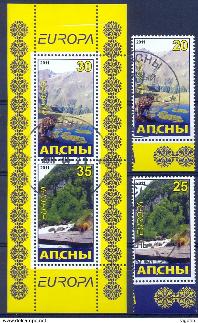ABH 2011- EUROPA CEPT,GEORGIA ABHASIA, 2v + S/S , Used - Erinnophilie