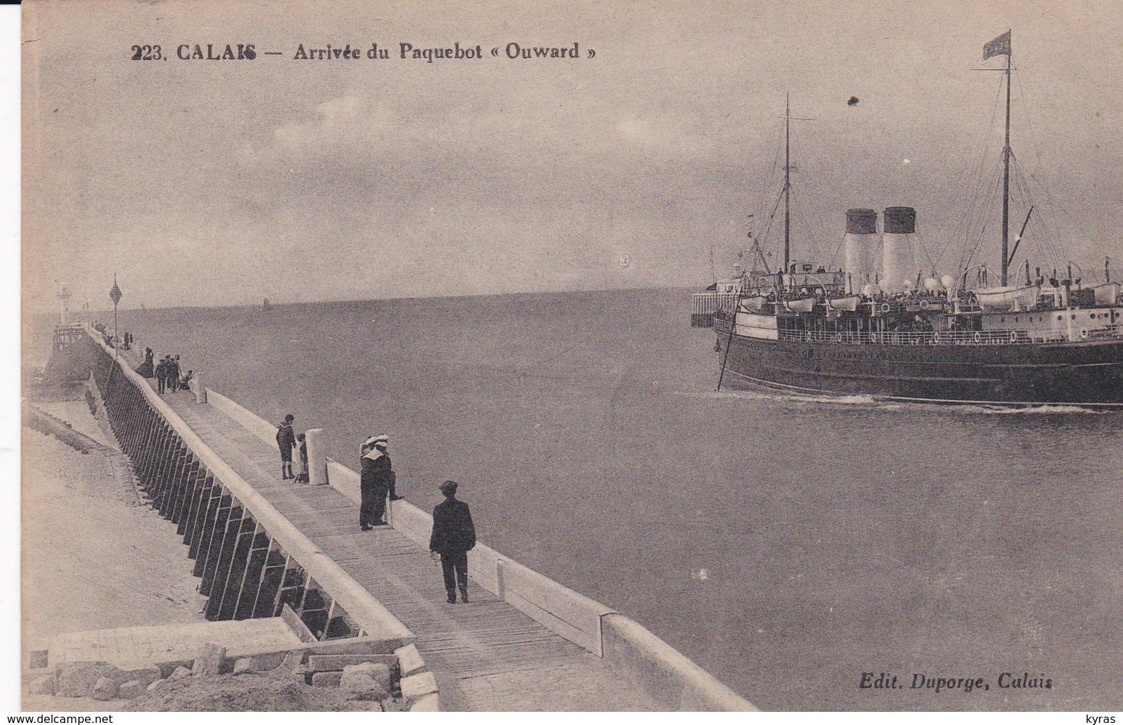 """CALAIS (62) Arrivée Du Paquebot  """" OUWARD """" - Paquebots"""