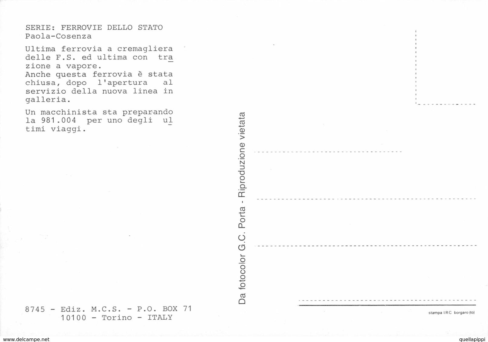 """09488 """"FFS LINEA PAOLA/COSENZA - LOCOMOTIVA 981.004 - ALLA STAZIONE DI COSENZA""""  ANIMATA. CART NON SPED - Stazioni Con Treni"""