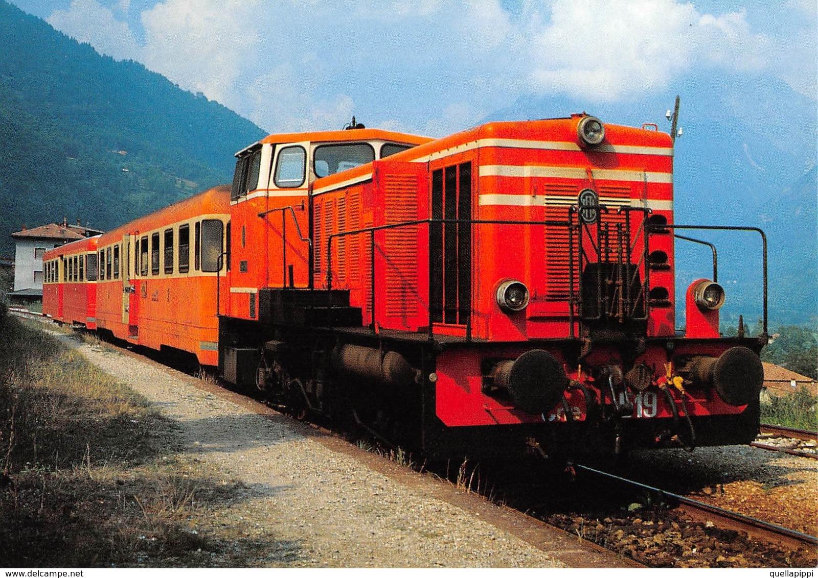 """09490 """"FERROVIA SNFT - LINEA BRESCIA/EDOLO - STAZIONE DI MALONNO - LOCOMOTIVA CNE 519 - 1986""""  CART NON SPED - Stazioni Con Treni"""
