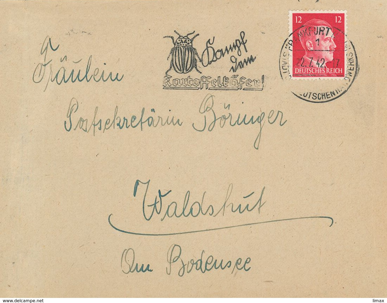 Brief Hitler 12 Pfg - Frankfurt Main - Kampf Dem Kartoffelkäfer - Alemania