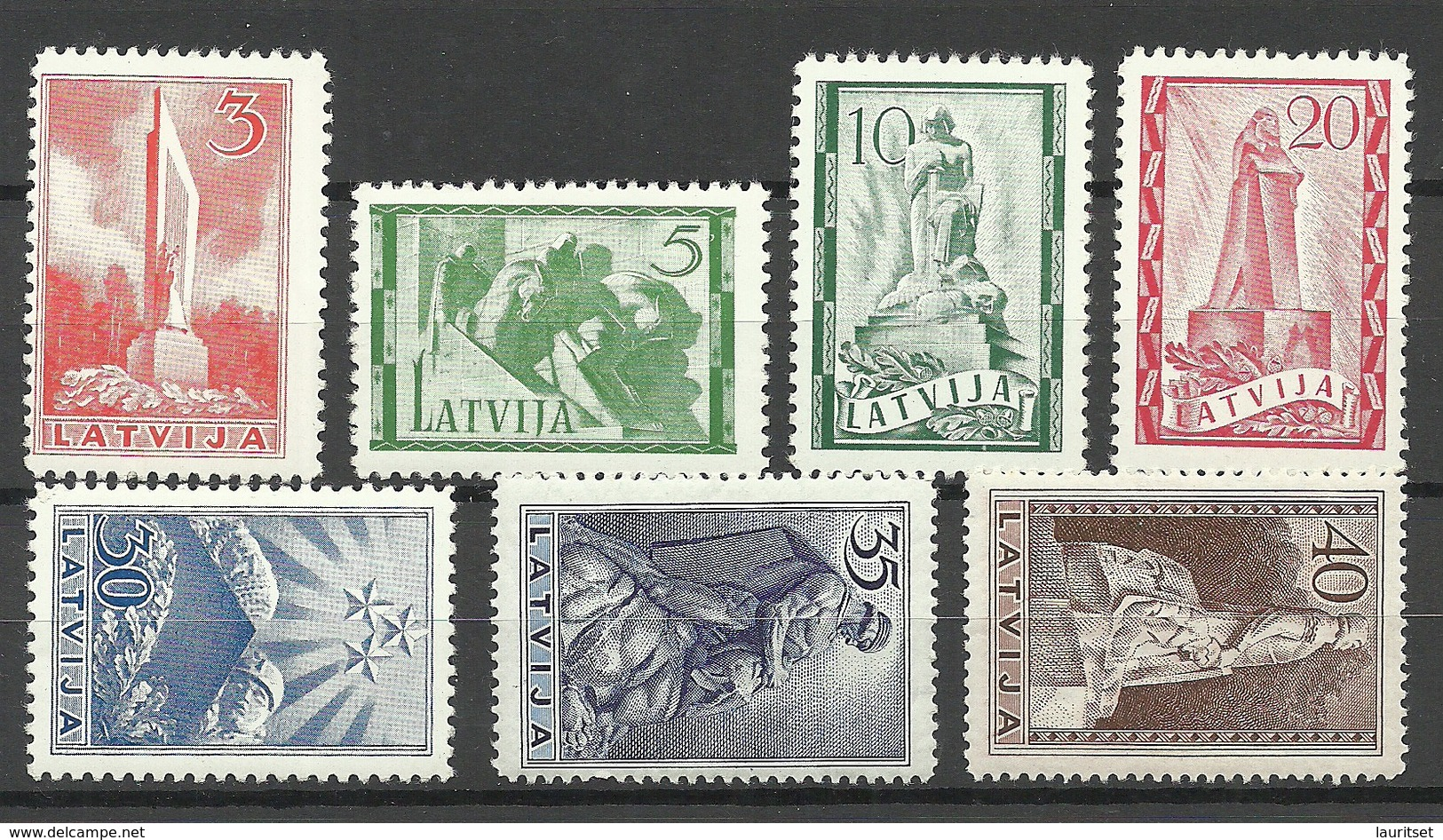LETTLAND Latvia 1937 Michel 246 - 252 Monuments * - Lettland