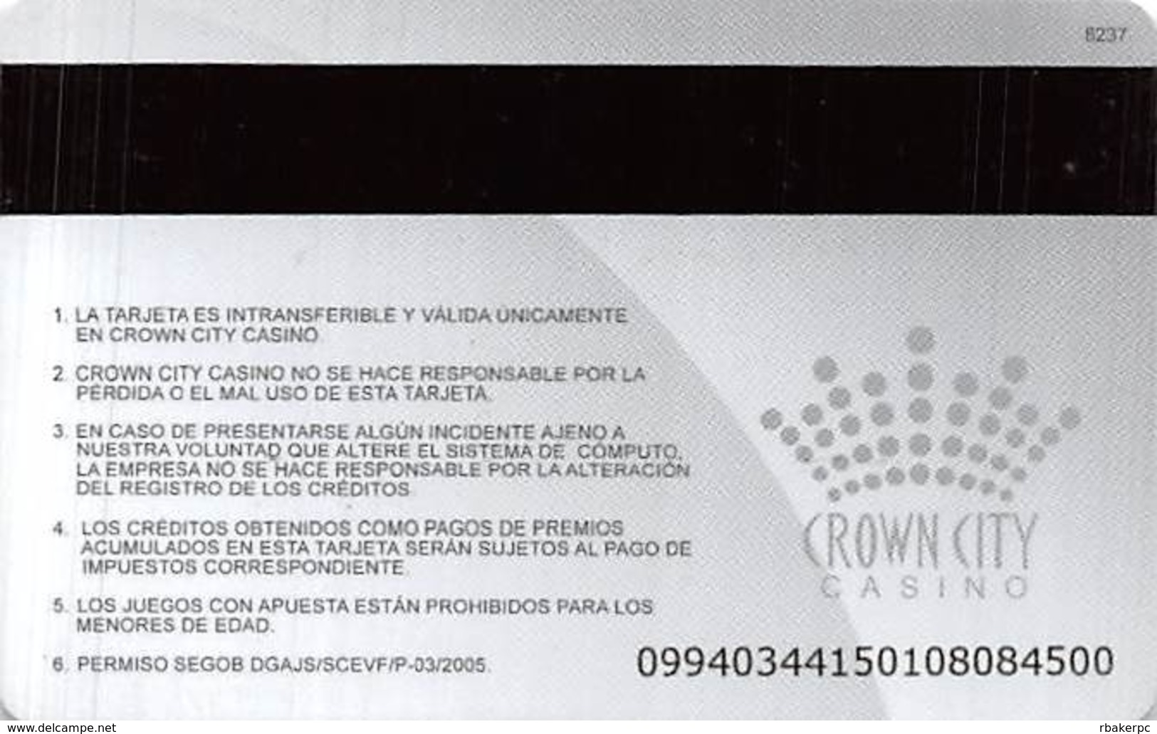 Crown City Casinos - Multiple Cities Mexico - Slot Card  .....[FSC]..... - Casino Cards