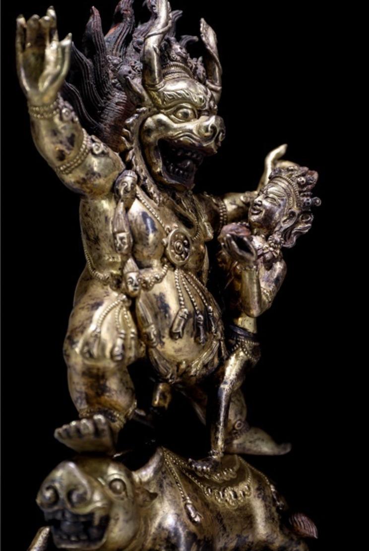 China Tibetan Buddhism Copper Gilt Buddha Statue - Rame