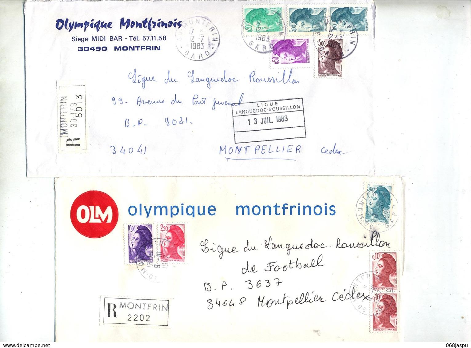 Lot 26 Lettre Recommandée Cachet Montfrin  à Voir Entete Club Football - Marcophilie (Lettres)