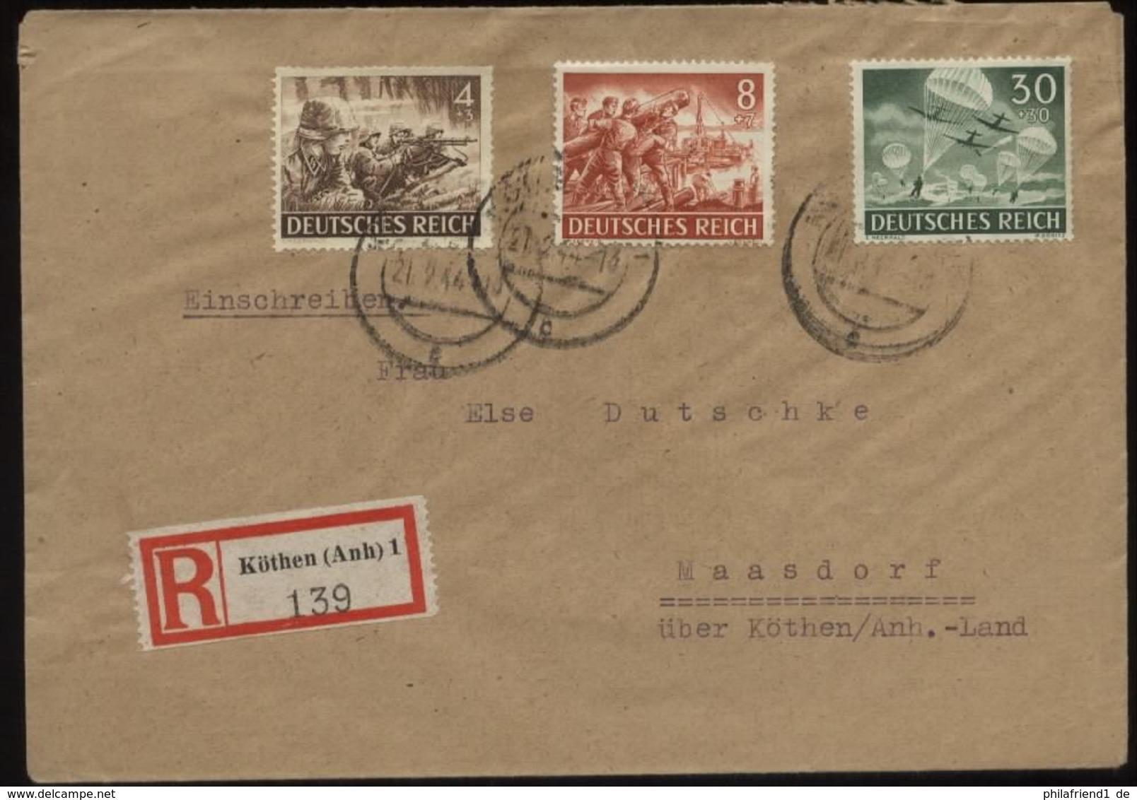 WW II DR R - Briefumschlag Mit Wehrmacht I Sonderbriefmarken: Gebraucht Köthen Anhalt - Maasdorf 1944 , Bedarfserhaltu - Briefe U. Dokumente
